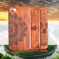 Retro Bamboo Wood Skull Carving Case For IPhone 5 5s SE 6 6s Plus Natural Wooden