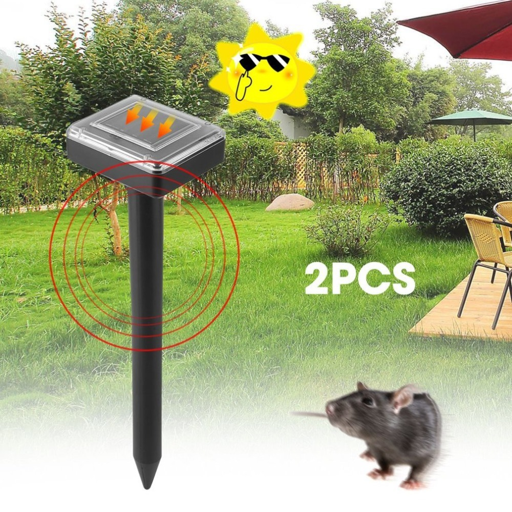 2pcs Solar Powered Ultrasonic Sonic Mouse Mole Insect Pest Rodent Repellent LED Light Repeller Outdoor Lamp Yard Garden ultrasonic pest repeller electronic mouse control tool