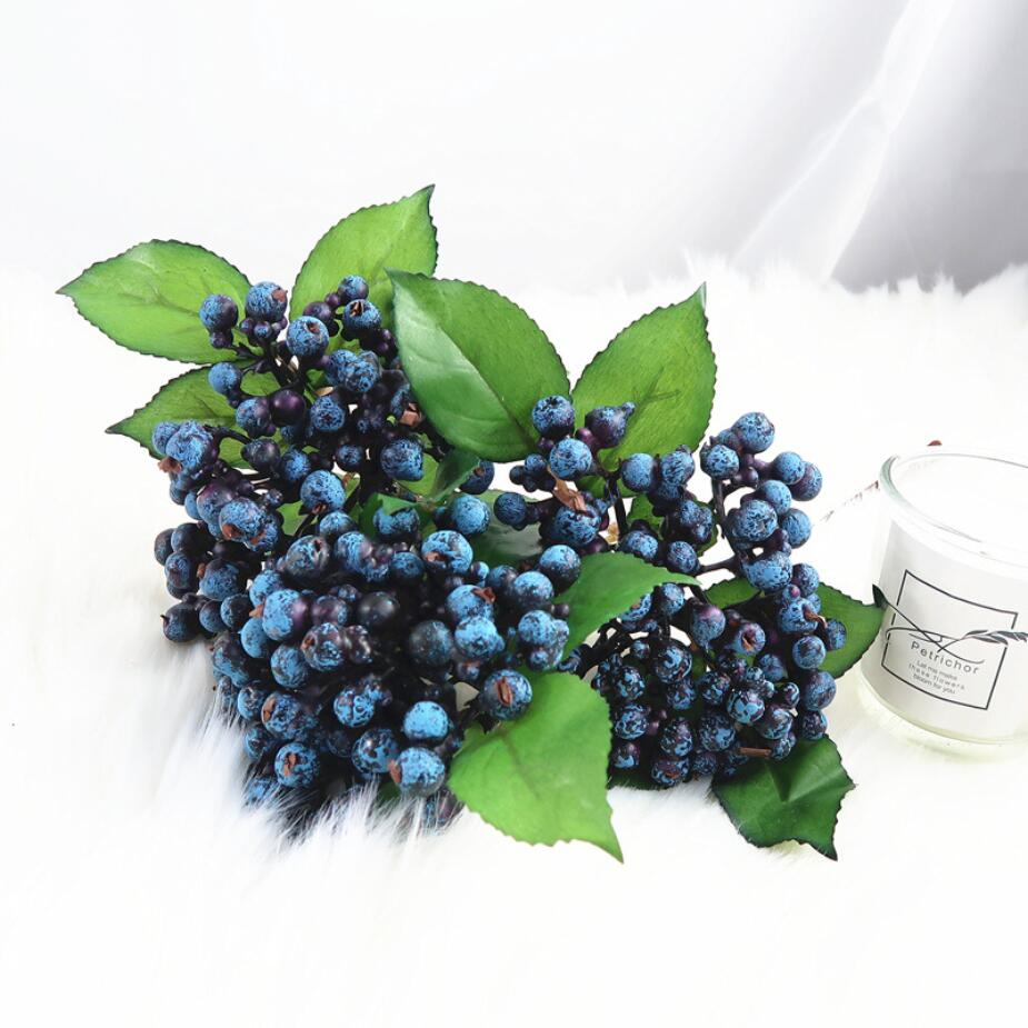 1PC Artificial Blueberry Plants Flower Bud Fake Plants Silk Flowers Decorative Wreath Berry For Wedding Home Party Decoration