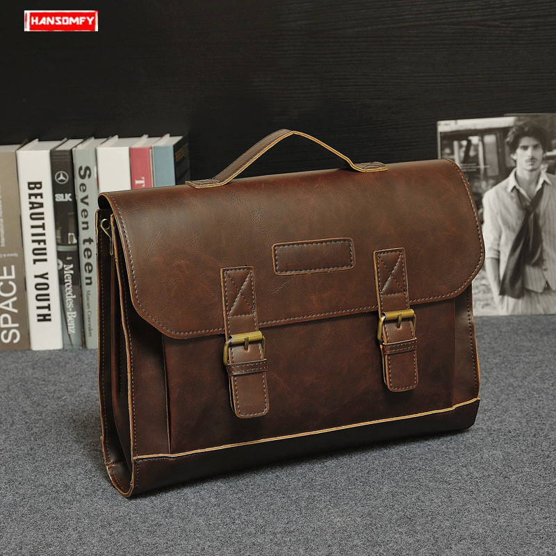 Original Design 2019 Men's Briefcase Business Laptop Bag Crazy Horse Leather Handbag Briefcase Male Classic Shoulder Bag