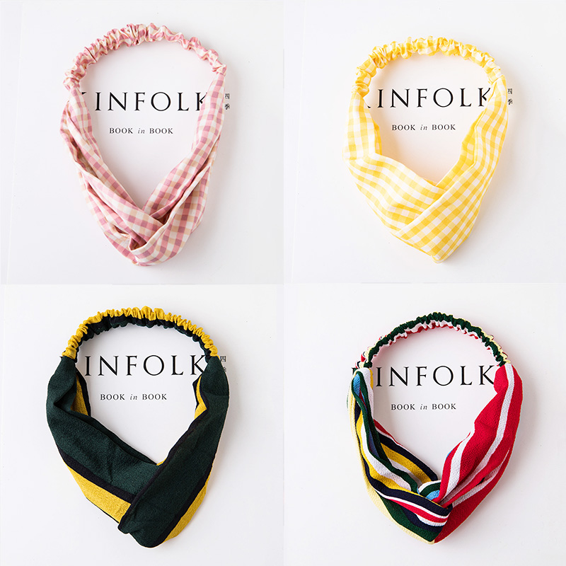 New Fashion Women Elegant Striped Plaid Cross Elastic Headbands Truban Girls Hairbands Bandanas   Headwear   Lady Hair Accessories