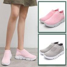 Women Running Shoes Knitting Sock Sneakers Spring Summer Slip On Flat Big Size 36-42 Loafers Flats Walking krasovki Famela