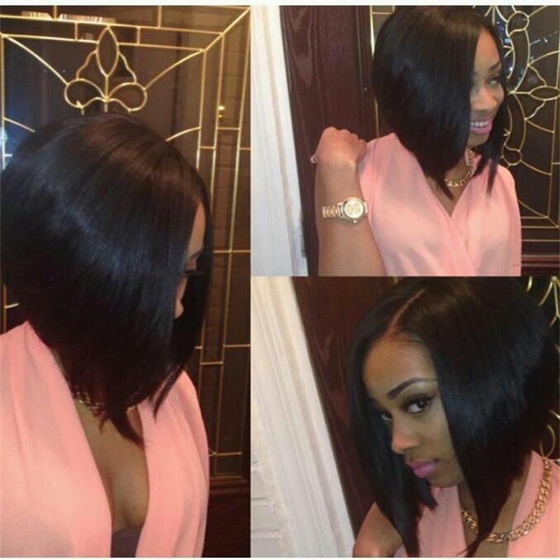 Sexy Lace Bob Wigs Brazilian Virgin Human Hair Short Bob Full Lace Wigs 130% Short Natural Straight Wig With Baby Hair In Stock