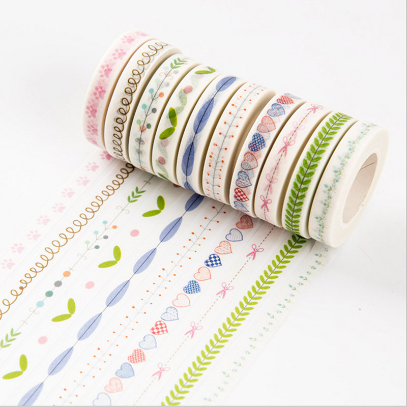 10M DIY Flower Grass Washi Tape Lovely Heart Adhesive Masking Tape Sticker For Scrapbooking Home Decoration Free Shipping 1319