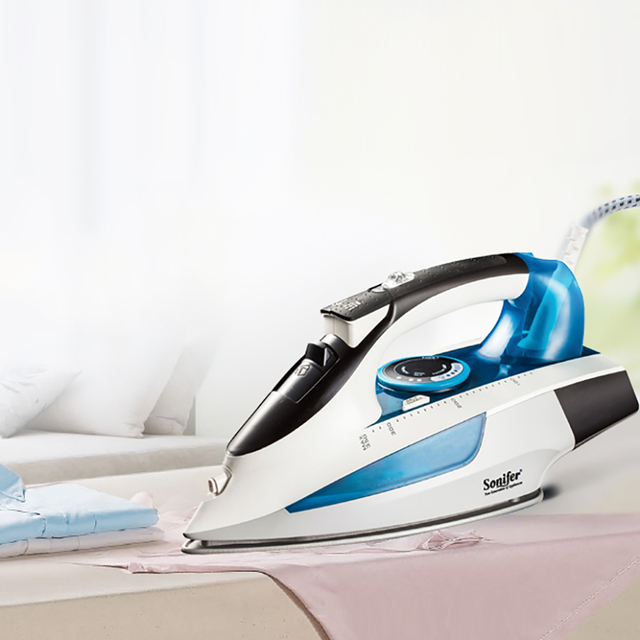 2400W High quality laundry home appliances Electric Steam Iron For Clothes Adjustable Ceramic soleplate iron for ironing Sonifer 1
