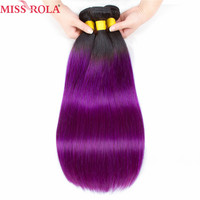 Miss Rola Hair Pre Colored Ombre Brazilian Straight hair Bundles Wave T1B/Purple Hair Non Remy Weave 100% Human Hair Extensions