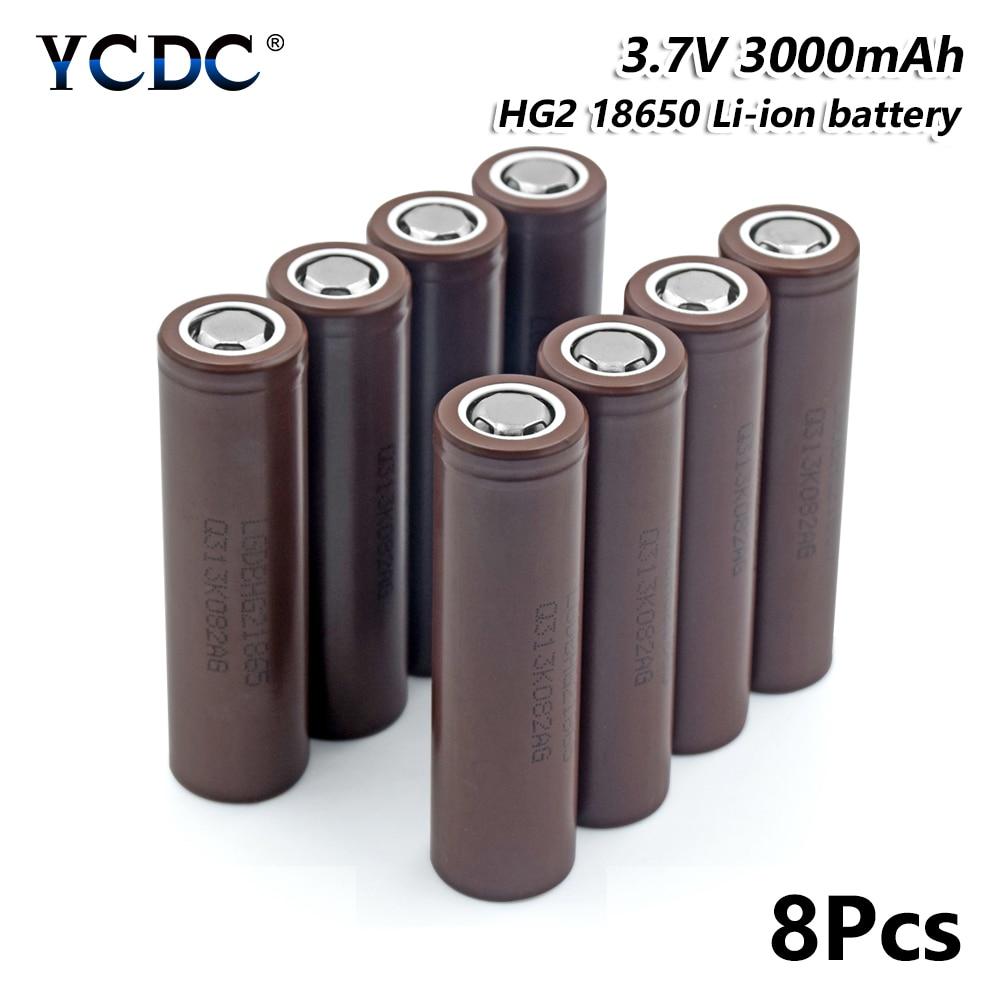 8x Rechargeable 18650 HG2 batterie au Lithium 3.7 V 3000 mAh pour torche phare pour stylo Laser lampe de poche LED support de batterie de cellule