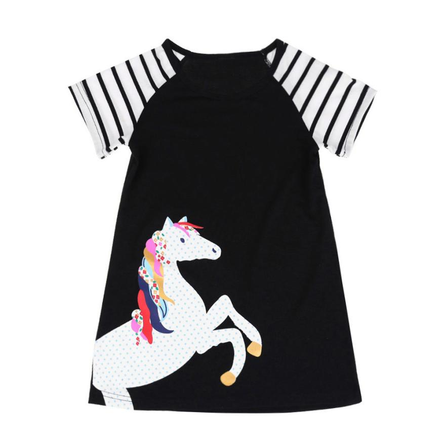 MUQGEW Baby Girls Unicorn Short Sleeve 2018 Hot Children Princess Dress Tunic Animal Pattern Christmas Costume for Kids Clothes