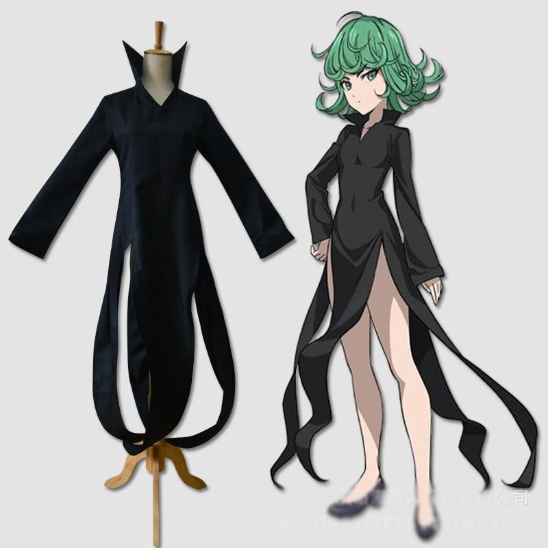 Stock size! Anime One Punch Man Tatsumaki Cosplay Costume Gothic Dress Halloween Costume for women free shipping