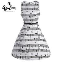 AZULINA Music Note Print Women Vintage Midi Dress Sleeveless O Neck Female Casual Retro Dresses With