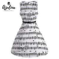 AZULINA Music Note Print Women Vintage Midi Dress Sleeveless O Neck Female Casual Retro Dresses With