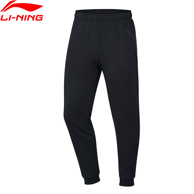 Li-Ning Men Training Series Sweat Pants Regular Fit 87% Cotton 13% Polyester Trousers LiNing Sports Pants AKLP313 JAS19(China)