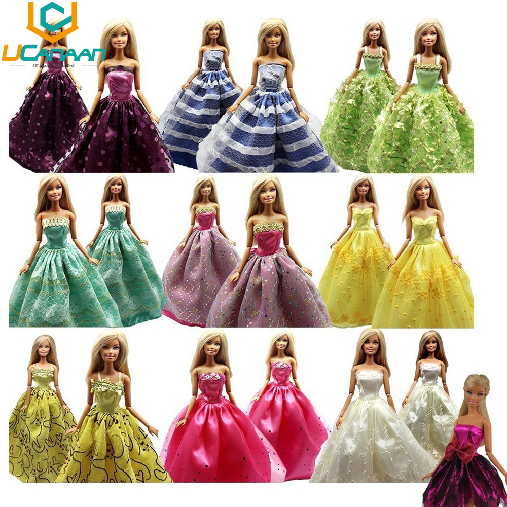 UCanaan Random Decide 15 Objects = 5 Wedding ceremony Gown Princess Robe + 5 Pairs Sneakers + 5 Hangers Garments For Barbie Doll Present Child Toy