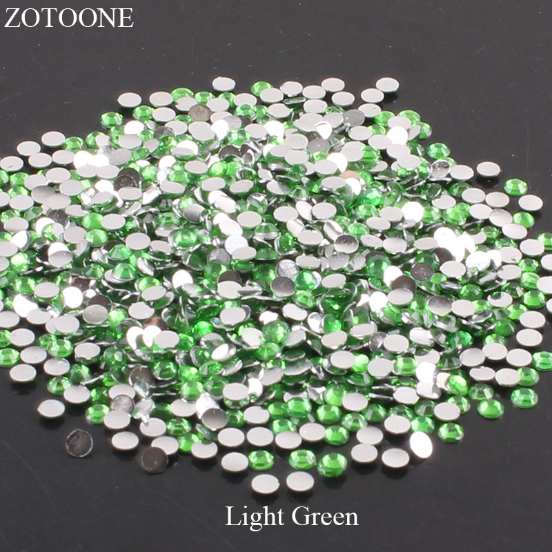 ZOTOONE 2-6 мм 1000 шт прозрачные Стразы AB без горячей фиксации плоские с оборота Стразы для ногтей для одежды ногти 3D дизайн ногтей украшения - Цвет: Light Green