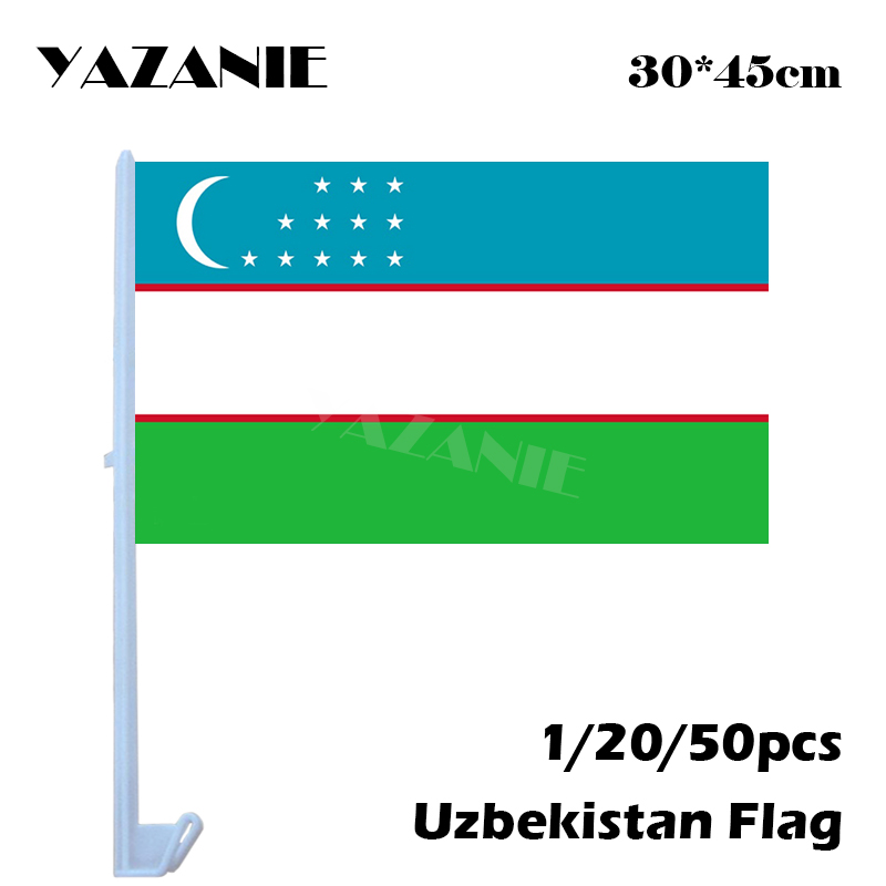 US $5 9 16% OFF|YAZANIE 30*45cm 1/20/50pcs Uzbekistan Car Flags and Banners  Custom Made Double Side Small Outdoor Cotton Banner Window Car Flag-in