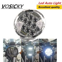 7 inch 75W Round LED Headlight 7500LM Hi/Low Beam Head Light with Bulb DRL for harley