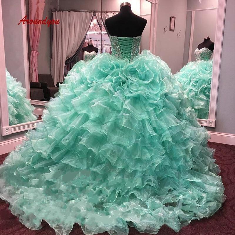 a8abbd5b7 Cheap De Lujo verde menta vestidos Quinceanera vestido de bola de cristal  Prom Debutante dulce 16