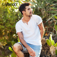 SIMWOOD 2017 Summer Shorts Sleeve Shirts Men 100 Linen Breathable Henry Collar Brand Clothing CD017003
