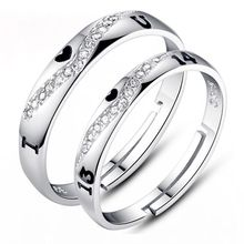 Free Shipping Charm Jewelry Accessories Adjustable Size I Love You 1314 Pattern 925 Sterling Silver Elegant Couple Lovers Ring(China)