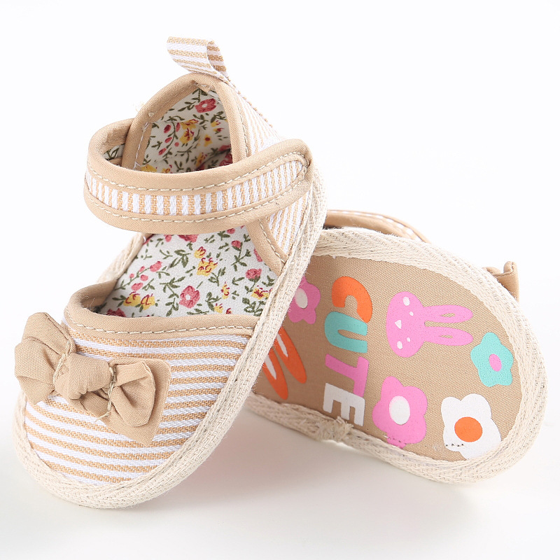 Spring And Autumn Summer Baby Female Baby Stripe Print Striped Cotton Casual Shoes Newborn Baby Classic Princess