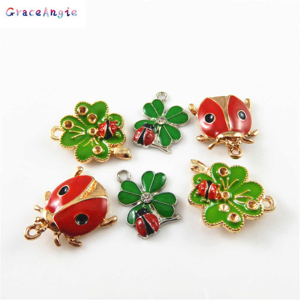 5b04b6ba6 GraceAngie 6PCS Beautiful Clover and ladybug Charms Gold Silver Necklace  Pendant DIY Bracelet Jewelry Crafts Findings