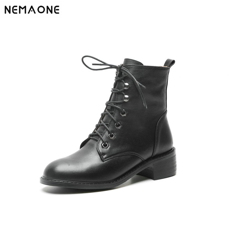 NemaoNe New spring Winter Women Boots High Quality Lace-up European Ladies shoes genuine leather high heels BootsNemaoNe New spring Winter Women Boots High Quality Lace-up European Ladies shoes genuine leather high heels Boots