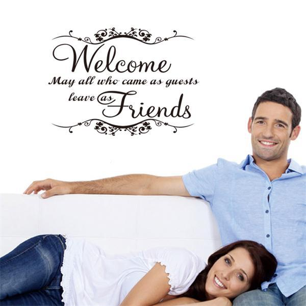 Welcome my friends quote wall stickers greeting words for door wall welcome my friends quote wall stickers greeting words for door wall stickers home decor waterproofing vinyl m4hsunfo
