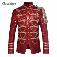 Fashion Sequins Stage Suit Jacket Men Party Suit Wears Fashion Digital Printing Autumn Winter Casual Drama