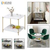 대리석 질감 나무 더블 레이어 커피 테이블 거실 소파 사이드 테이블 작은 식탁 작은 엔드 테이블 홈 가구