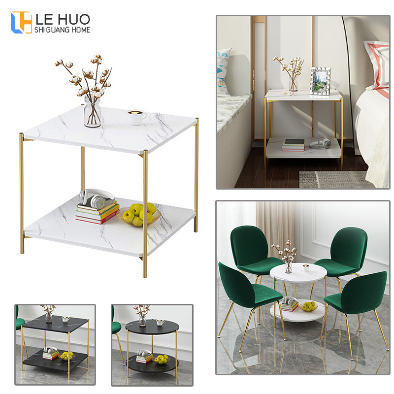 Marble texture Wood Double layer Coffee Table Living room Sofa Side Table Small Dining Table Small end Table Home Furniture drawer