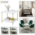 Marmo struttura di Legno Doppio strato di Caffè Tavolo del salotto Divano Tavolino Piccolo Tavolo Da Pranzo Piccolo tavolino Mobili Per La Casa