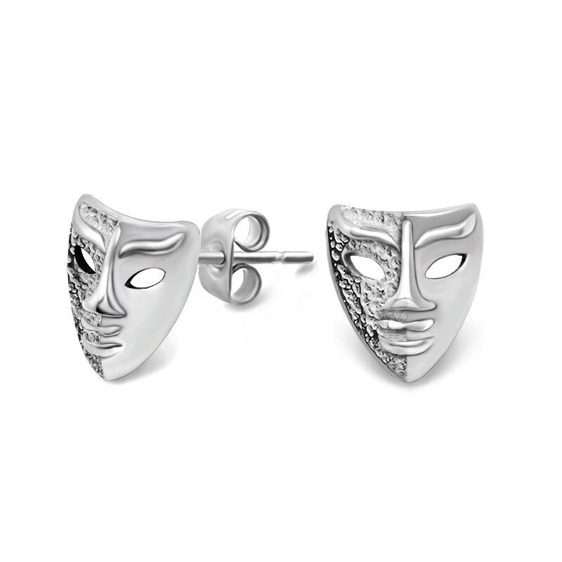 Asymmetry mask stud earrings Polishing titanium steel earrings for men women fashion punk style jewelry wholesale free shipping