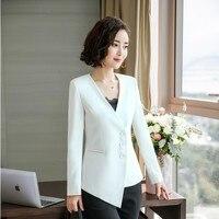 Ladies Fashion Elegant White Irregular Blazers Jackets Coat For Women Business Work Wear Outwear OL Styles Tops Clothes Blaser