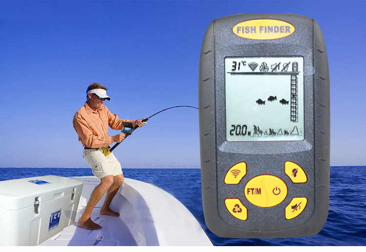 1pcs /lot Portable Sonar LCD Fish depth Finder, Alarm 100M AP,fishing iure,ice fishing finder echo sounder with retail box portable fish finder sonar sounder alarm transducer fishfinder 0 7 100m fishing echo sounder with battery with english display