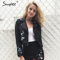 Simplee Leather Embroidery Jacket Coat Women Long Sleeve Color Motorcycle Basic Jacket 2017 Autumn Fashion Outwear