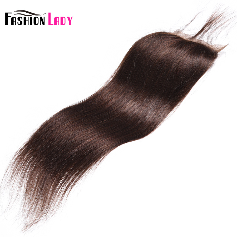 Fashion Lady Pre-Colored Brazilian Hair Closure Straight Hair Lace Closure 4x4 Inches #2 Brown Human Hair Lace Closures Non-Remy