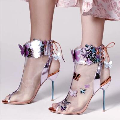 2017 Summer Hot Sale Women Fashion Light Purple Black Harmony Mesh 3D Butterfly Booties Peep Toe Lace Up Back Thin Heels Boots dark blue belted peep toe fashion booties