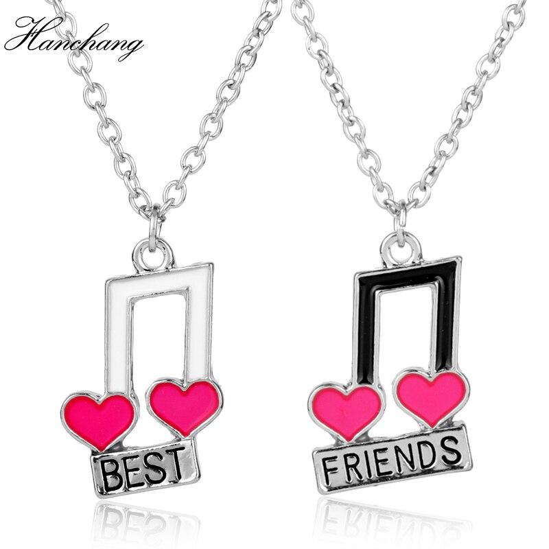 Hot Sale Hanchang 2pcs Fashion Best Friend Jewelry 2 Bff Heart Music