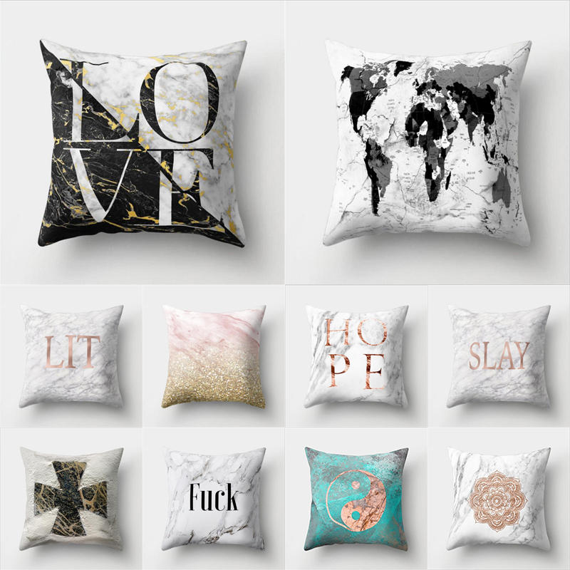 45cm*45cm Super clear Marble - like alphabet design super soft throw pillow covers couch ...