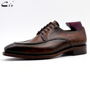 Image 2 - cie men dress shoes leather patina brown men office shoe genuine calf leather outsole men suits formal leather handmade No.7