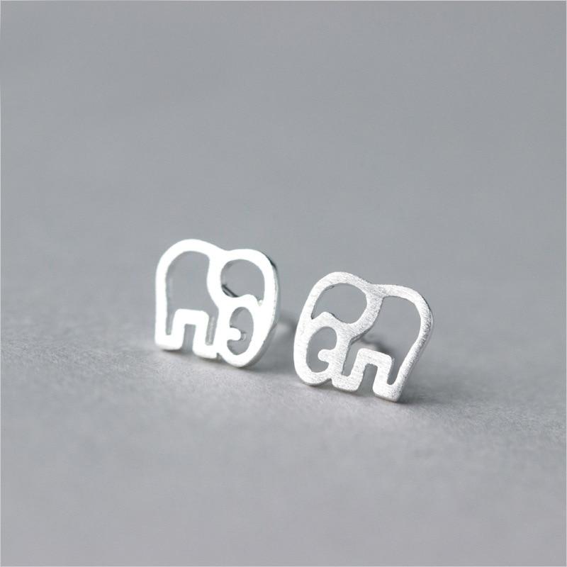 MloveAcc Creative Novelty 925 Sterling Silver Earrings Women Fashion Simple Hollow Cartoon Elephant Earrings Girls Gifts