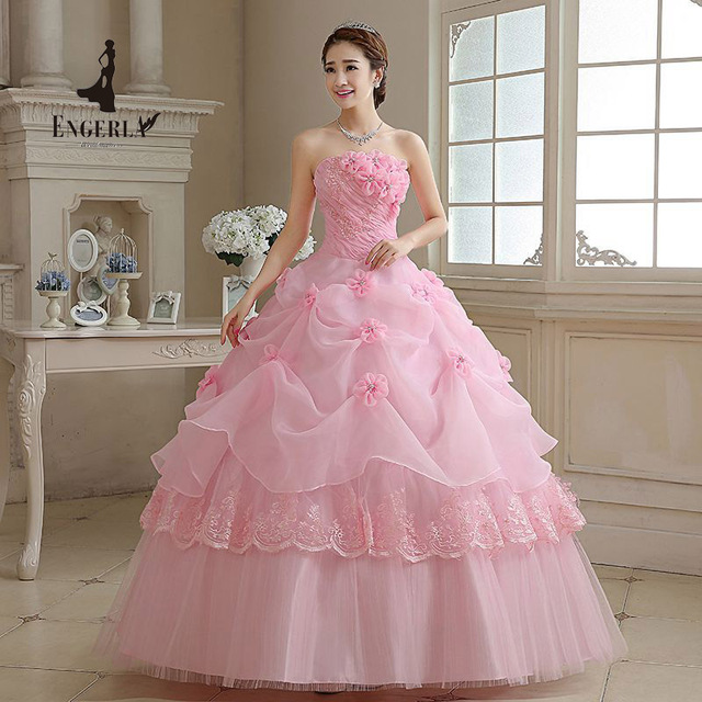 707ae7376d0 Royal Pink Princess Wedding Dress Pearl Beads Sexy Strapless Bridal Ball  Gown For Women In Stock