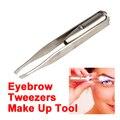 Venta caliente Maquillaje Led Light Remoción de Pestañas Cejas Cabello Pinzas Face Hair Remover Pinzas de la Ceja del Acero Inoxidable