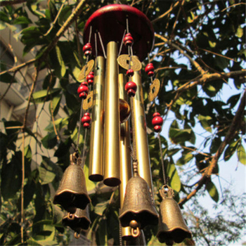 Outdoor Metal Wind Chimes Yard Garden 4 Tubes Copper Bell Wind Chime Window Bells Wall Hanging Decorations Home Decor