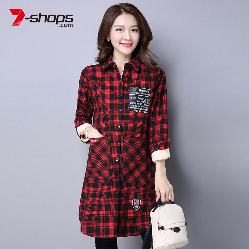 7-shops Winter Shirts Warm Tops Women Long Sleeve Velvet Thick Shirt Long Outerwear Female Turn-down Collar Plaid Thicken Blouse