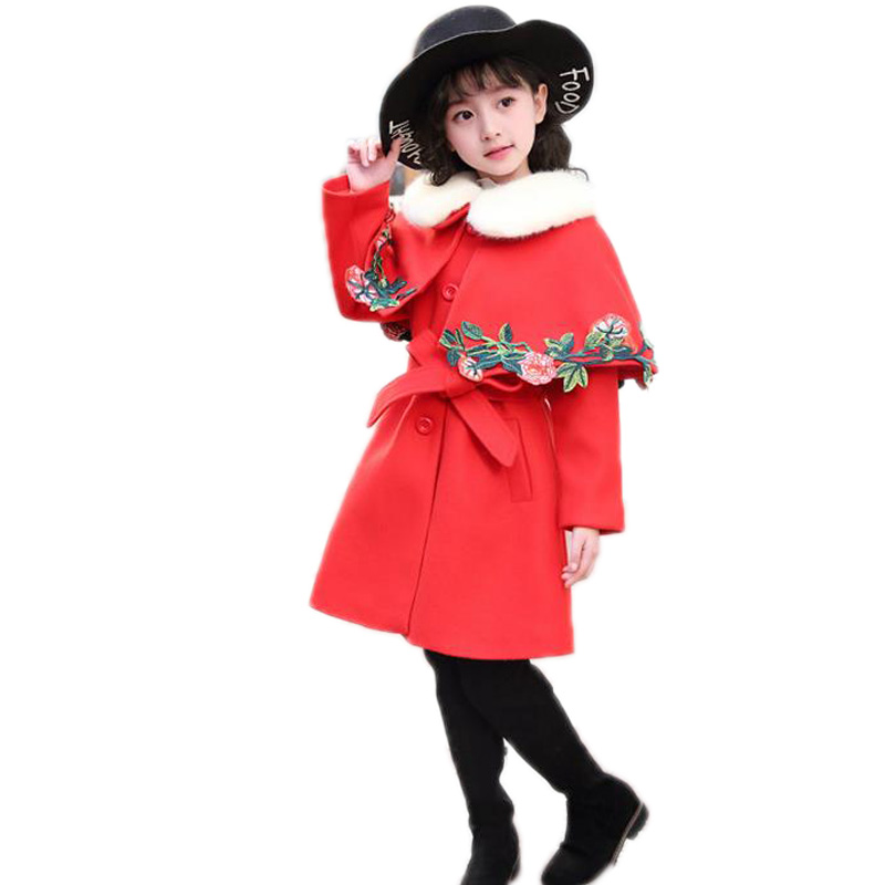 Thick Kids Cloak Winter Children Jacket Single Breasted Embroidery Flowers Girl Outerwear Long Wool Jackets For Girls with Blets single breasted knot blouse
