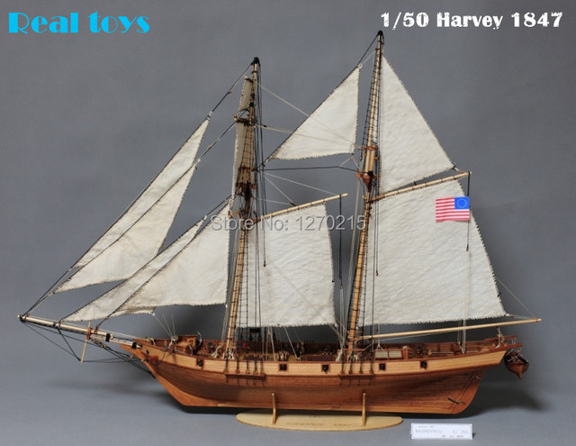 1/50 classic wooden sailing ship Harvey 1847 wooden kit model