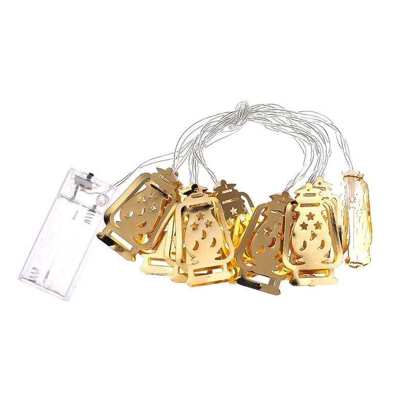 Ramadan Lights Gold Metal lantern Lighting Ramadan Lamp LED string lights battery power fairy Christmas light home Decoration