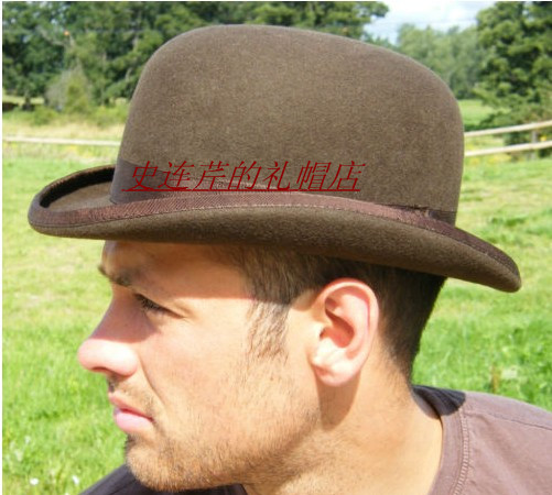 100% Wool Brown Derby Bowler Hat luxury felt billycock hats for men with  belt rolled brim Black Coffee Gray Size S M L XL-in Fedoras from Apparel ... 45d92485ad6
