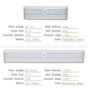 Image 3 - Lámpara de armario con Sensor de movimiento PIR de 6/10 LED, luz LED para debajo de gabinete de encendido/apagado automático para cocina, dormitorio, iluminación de armario, luces nocturnas
